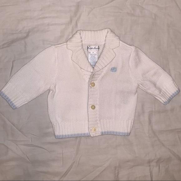NWT Ralph Lauren Infant Boys Navy Cotton Cardigan Sweater Sz 3m 6m NEW